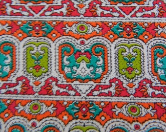 1960s Fabric Remnant .. Colorful Cotton Print Material ....8 Yards
