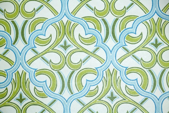Retro Wallpaper by the Yard 70s Vintage Wallpaper - 1970s Green and Blue Retro Lattice Damask