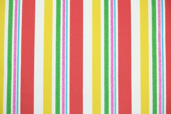 Retro Wallpaper by the Yard 70s Vintage Wallpaper - 1970s Red Yellow Pink Green Blue and White Multi Colored Stripes