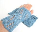 """Elegant silk lace wristwarmers/mittens """"Brigitte"""", Tussah silk, wild silk, plant dyed, knitted, crocheted, pastel blue, indigo blue, azure"""