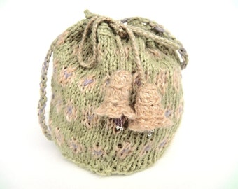 "Linen pouch ""Campanula"", seed beads, silver beads, handspun, plant dyed, knitted, crocheted, pastel green, peach, lilac, OOAK, one of a kind"