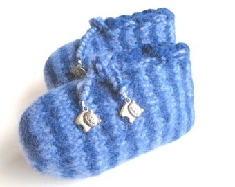"""Felt children slippers """"Little Blue Tiger"""", pure new wool, glass beads, Tibetan silver, knitted, felted, striped, OOAK, one of a kind"""