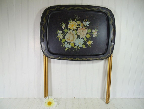 Large Vintage Black Enamel Hand Painted Metal Tray Table
