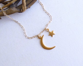 Gold Moon and Star Necklace --  Vermeil and 14k Gold filled -- Mothers Necklace  -- Friendship