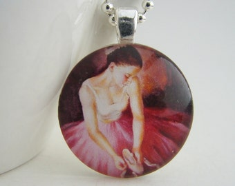 Ballerina in Pink Glass Tile Pendant with Free Necklace