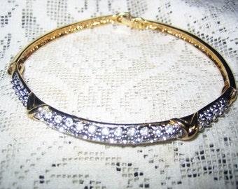 Vintage 3 Part Rhinestone Cuff Bracelet Back Clasp