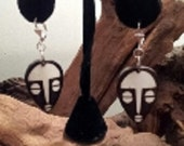 African Mask Bone Earrings