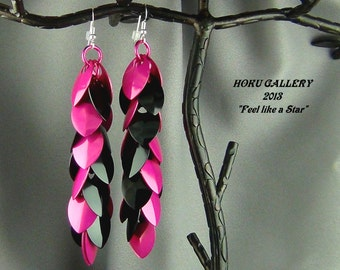 """Pink and Black Anodized Aluminum Dragon Scales, Pink Anodized Aluminum Rings, - 4.5""""  Earrings - Hand Crafted Artisan Jewelry"""