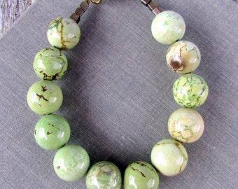 Green Stone Bracelet, Chunky Stone Bracelet, Green & Brown Stone Bracelet, Earthy Mint Brown Magnesite Bead Bracelet, Antiqued Brass