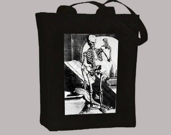 Vintage Spooky Skeleton with Coffin Illustrationon Natural or Black Canvas Tote  -- Selection of sizes available