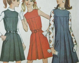 UNCUT Vintage MOD Era 1968 McCall's Yoked Front Dress or Jumper with Pleated Front & Blouse 9332 Sewing Pattern Size 12 Bust 34