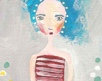ACEO original painting acrylic cute girl