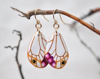The Esmeralda Butterfly Wings Earrings - Carved Walnut Hardwood & Hand Painted - 14 Karat Gold Filled Findings