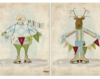 Snowman, Reindeer, 2 8x10 printables