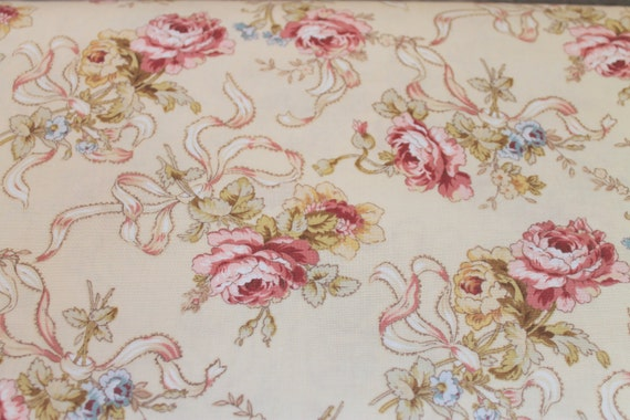 Fat Quarter Fabric/Rose Fabric/Ribbon Fabric/Victorian Fabric/Shabby Chic Fabric/Sweet Juliet/Red Rooster/Wilmington Prints