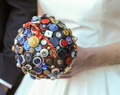 SALE Vintage Nautical Button Wedding Alternative Bouquet Seaside Driftwood