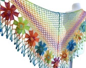 crochet flower shawl ,crochet shawl, wedding ,bride, Rainbow shawl, christmas gift,  fall fashion,  valentine, winter trends, 2014