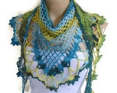 crochet flower scarf, hand-knitted, fashion 2014, unique gifts,  Women,shawl, Green, Blue and yellow, valentines day