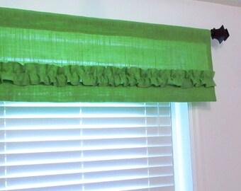 Lime Green BURLAP Ruffled Valance Custom Sizing Available
