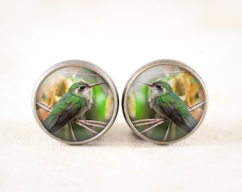 Hummingbird Jewelry Earrings -  Humming Bird Earrings, Bronze Bird Jewelry, Hummingbird Earrings, Bird Lover Gift, Bird Stud Earrings