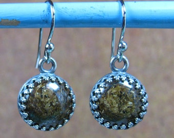 Earrings - Genuine Bronzite in Silver (E-154)