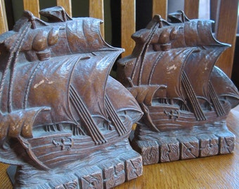 Bookends - Ships - Nautical - Plaster Cast Bookends - 1940s
