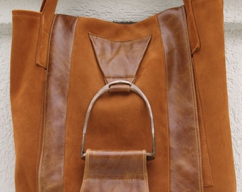 Equestrian Peanut Brittle Toffee Caramel Brown Leather and Suede Tote with Stirrup Accent