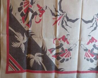 Linen Tablecloth // Tropical // Dancers...48 X 52