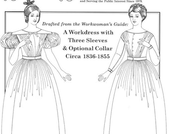 PP017 - Past Patterns #017, 1836-1855 Workdress with Three Sleeves & Optional Collar Sewing Pattern