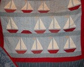 Sailboats Regatta in Red White and Blue Patchwork Quilt