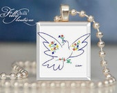 """Picasso: """"Peace Dove"""" - A jewelry pendant charm made from a Scrabble Game Tile game piece with 18"""" Ball Chain Necklace"""