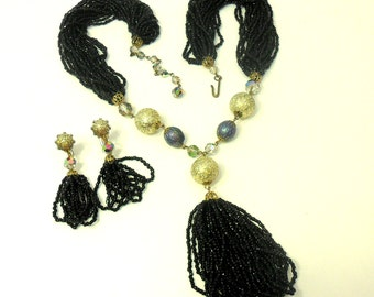 Beaded Sautoir Tassel Necklace and Earrings - Black Glass Beads, AB Crystals, Multi Strand Set