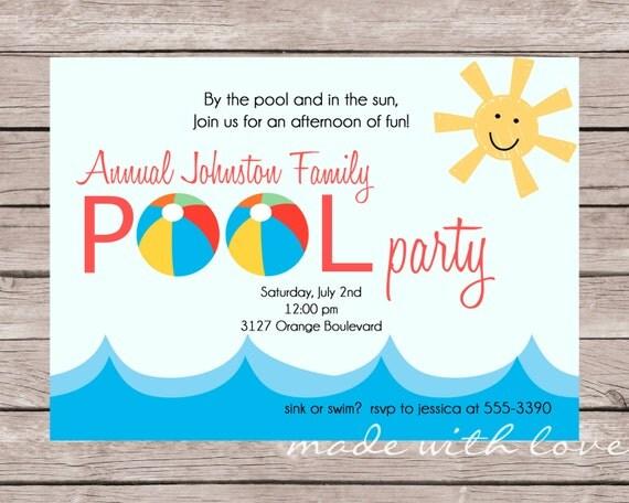 Sun and Fun invitation, personalized and printable, 5x7