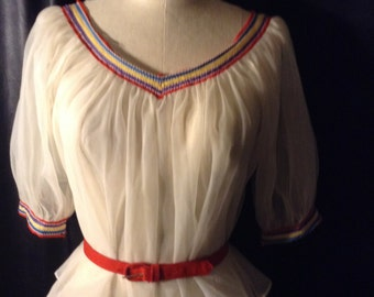 White Nylon Sheer Peasant Blouse Beautiful Trim Small to Medium