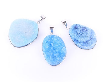 "1 BLUE AGATE DRUZY Pendant, Silver Bezel, 1-1/4"" to 1-3/4"" long,  gdz0015"