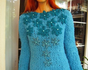 SALE sweater blue handmade fluffy sweater embroidered top/sweater/turquoise sweater ready to ship by goldenyarn