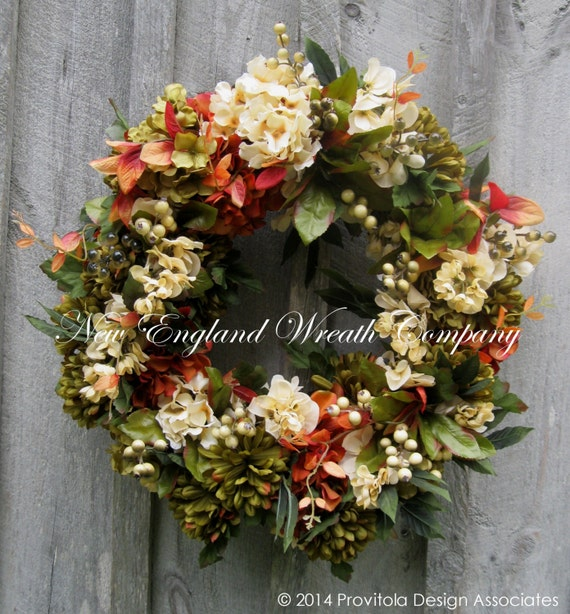 Fall Wreaths, Autumn Wreath, Floral Wreath, Elegant Fall, Hydrangea, Mums, Designer Decor, Harvest, Thanksgiving