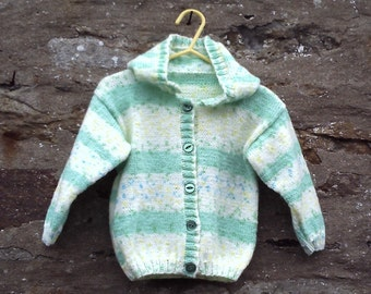 "Hand knitted baby or toddler girl green and yellow hooded cardigan / jacket. 22"" chest."