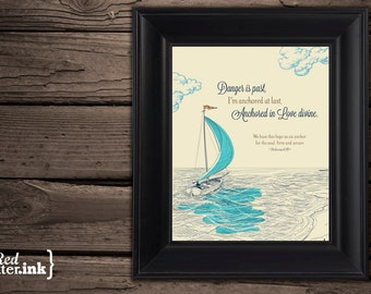 Wall Art - Anchored in Love (teal, navy, brown, creme) Hebrews 6:19 - 8 x 10 Print