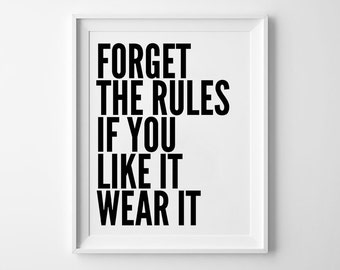 Quote Print, Forget the Rules, Motivational Type, Typography Poster, Black and White, Scandinavian, Minimalist Wall Decor