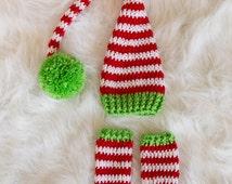 Newborn Elf Hat, Newborn Legwarmers, Newborn Photo Prop, Infant Santa Hat, Long Tail Hat, Stocking Cap, Newborn Christmas Prop, Leg Warmers