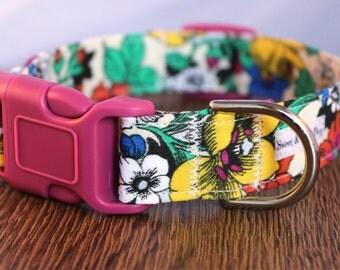 Vibrant Flower Dog Collar