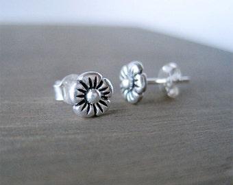 Silver Flower Earrings, Flower Studs, Sterling Silver Flower Stud Earrings