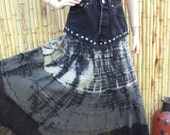 Summer Festival Gypsy Boho  Denim & India Cotton tie dye Maxi Skirt--Studded Waist 27 inches