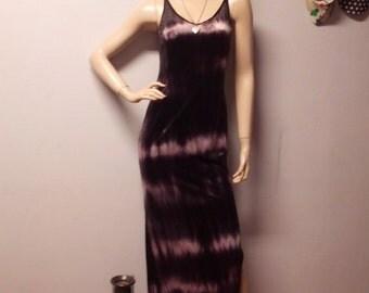 Purple OMBRE  Velvety Stretchy Bodycon Maxi Dress Vintage 90's - sz Small