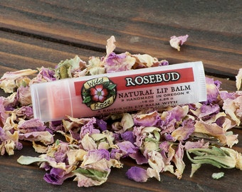 Valentines Day ROSEBUD Natural Lip Balm with Organic Rose Extract - Floral .15 oz - Gardener