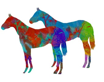 Two Horses Illustration print Giclee print Digital collage