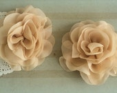 "Tan Beige Soft Petal Rose Flowers Flowers (2 pieces) 3"" Chiffon flower Wholesale Flowers Headband Flowers Fabric Flower Sara embellishment"