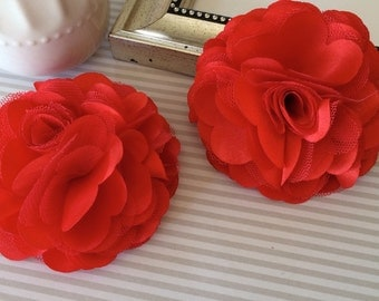 "Large 3"" Red satin tulle Fabric flower Red Satin mesh flowers choose flat back or with hair clip or brooch pin"