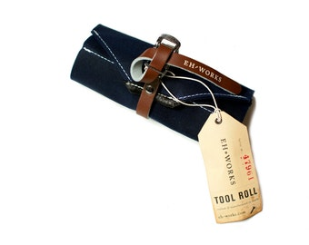 Bike Tool Roll - Navy with Brown Toe Strap